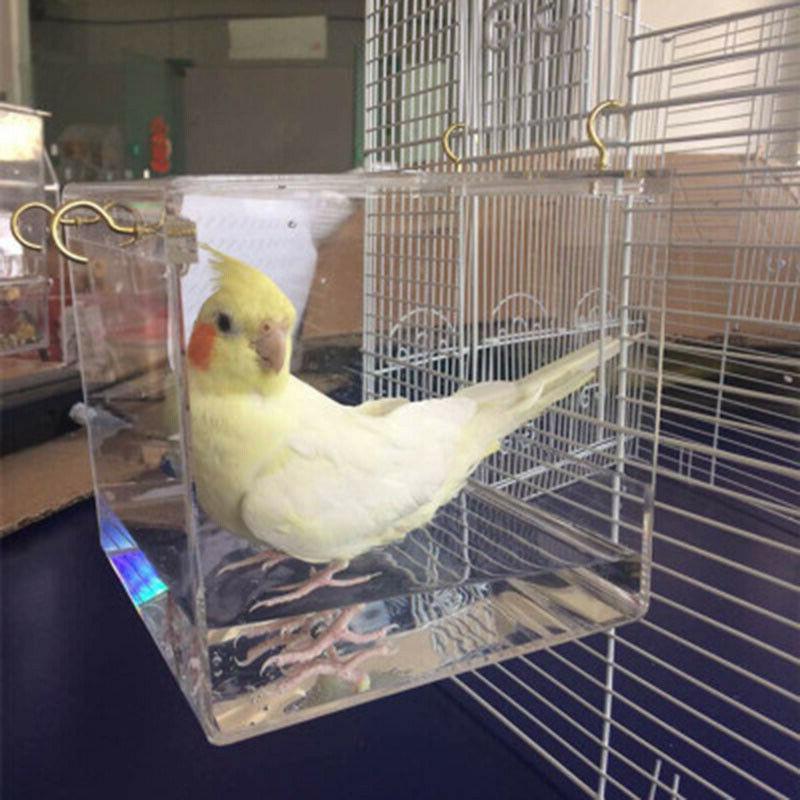 US Bird Box Parrot Bath Shower Standing Hanging Supplies