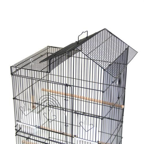Steel Parrot Cage Canary Cockatiel W Wood Perches Food