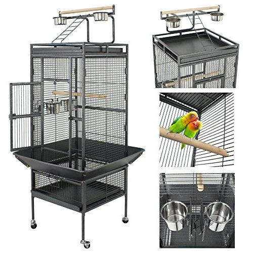 SUPER DEAL PRO Large Cage Play Top & Stand - Cage Cockatoo Pet House, inch Wrought