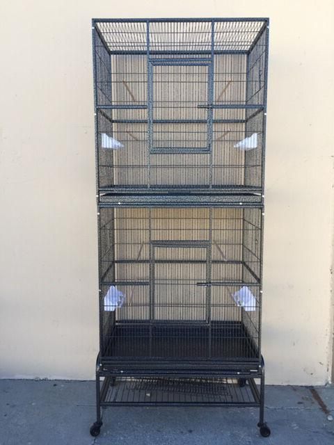 "76"" LARGE Double Stackable Cockatiel Aviary Canary Budgie Su"
