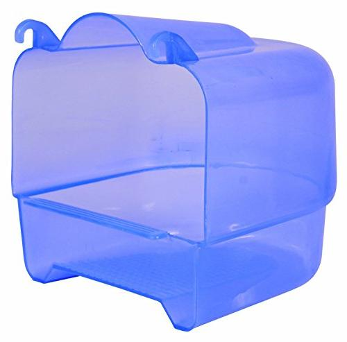 transparent plastic bird bath parakeets