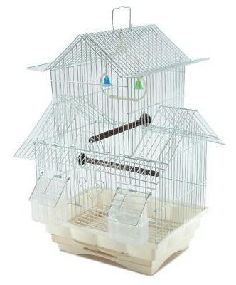 Bird Cage House Style - WHITE - Starter Kit, Swing Perch Fee