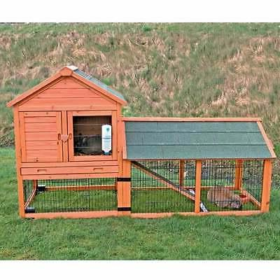 Trixie Natura Two Story Wheeled Rabbit Hutch with Run, 78.25