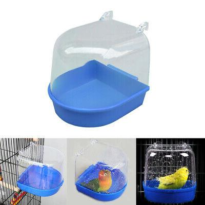 US Bird Water Bath Tub For Pets Bird Cage Hanging Bowl Parro