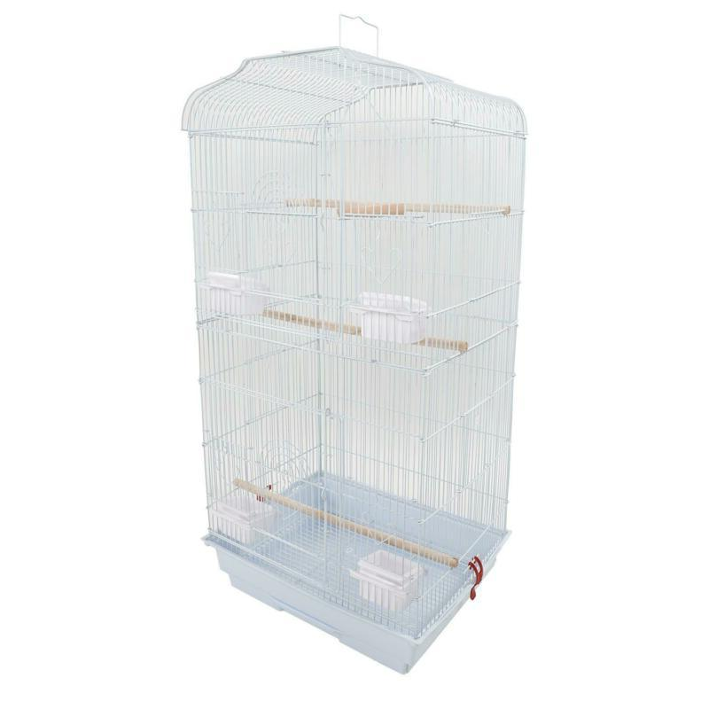 "37""Bird Parrot Cage With Food Cups For Canary Parakeet Cocka"