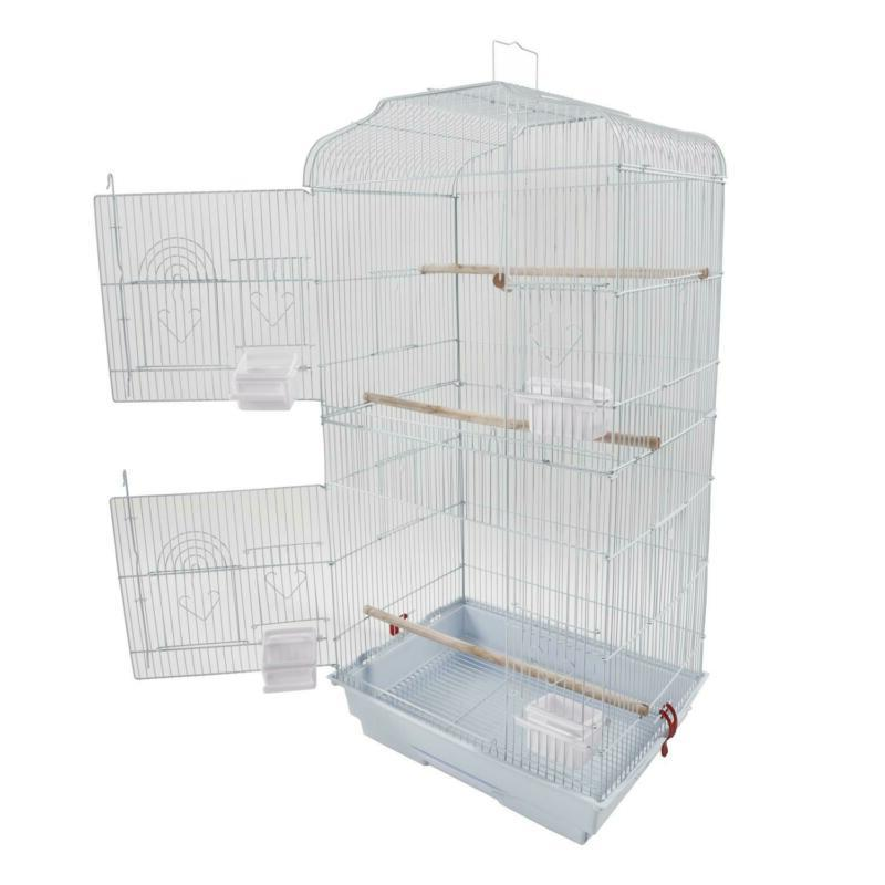 "37"" Steel Bird Cage Canary Parakeet W Cups"