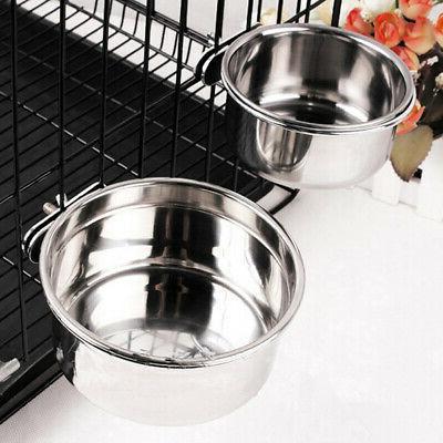Pet Hanging Bowl Stainless Steel Dog &Cat Feeding Food Bird