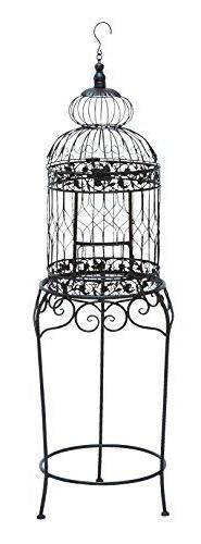 Benzara Victorian Style Bird Cage with Wrought Iron by Benza