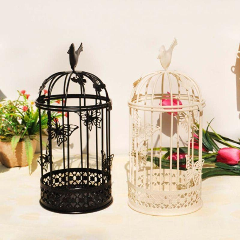 vintage metal bird cage candle holder stand