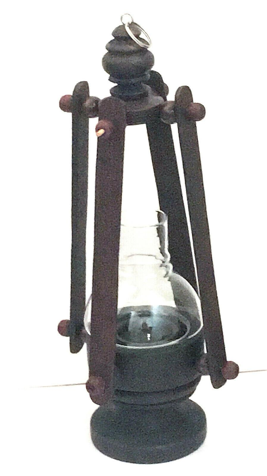 vintage wooden candle lantern rustic table lamp