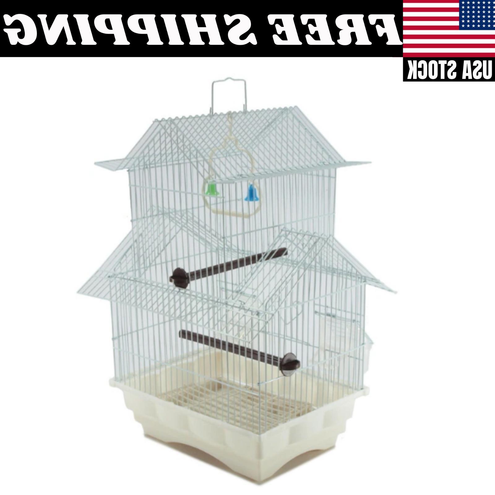 White Bird Style Perch Feeder Two Roof Design