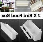 2 pcs White Bird Cage Plastic Feed Cup Seed Water Dispenser