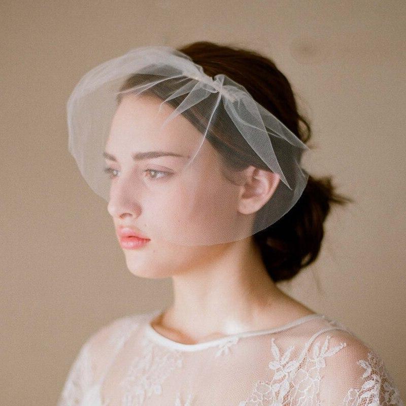 White <font><b>Bird</b></font> Accessories Veil Veils Short Bridal