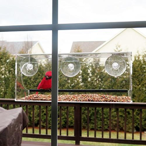 Evelots Window Bird Feeder With Drain Holes And