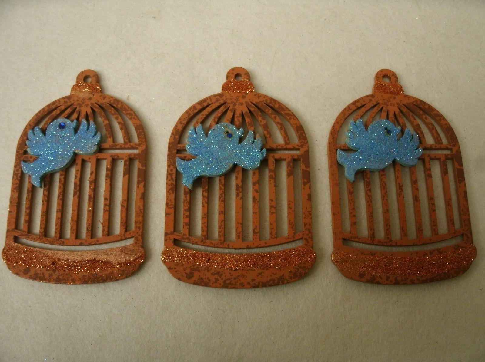 Lot of 3 Wood Birdcage Ornaments - painted glittered signed