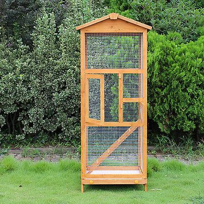 Wooden Large Bird Cage 65? Pet Play Covered House Stand Outdoor