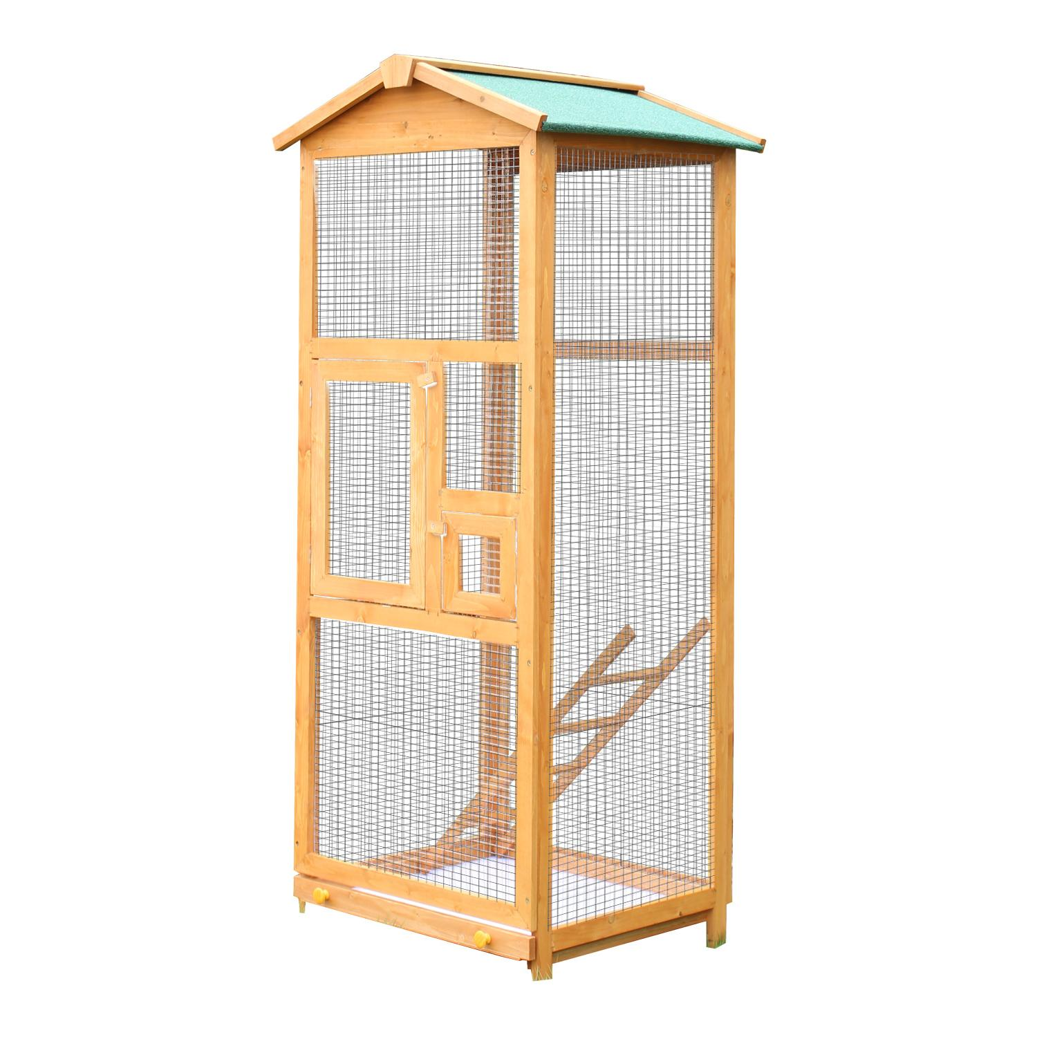 Wooden Large Bird Cage 65? Pet Play Covered House Ladder Fee