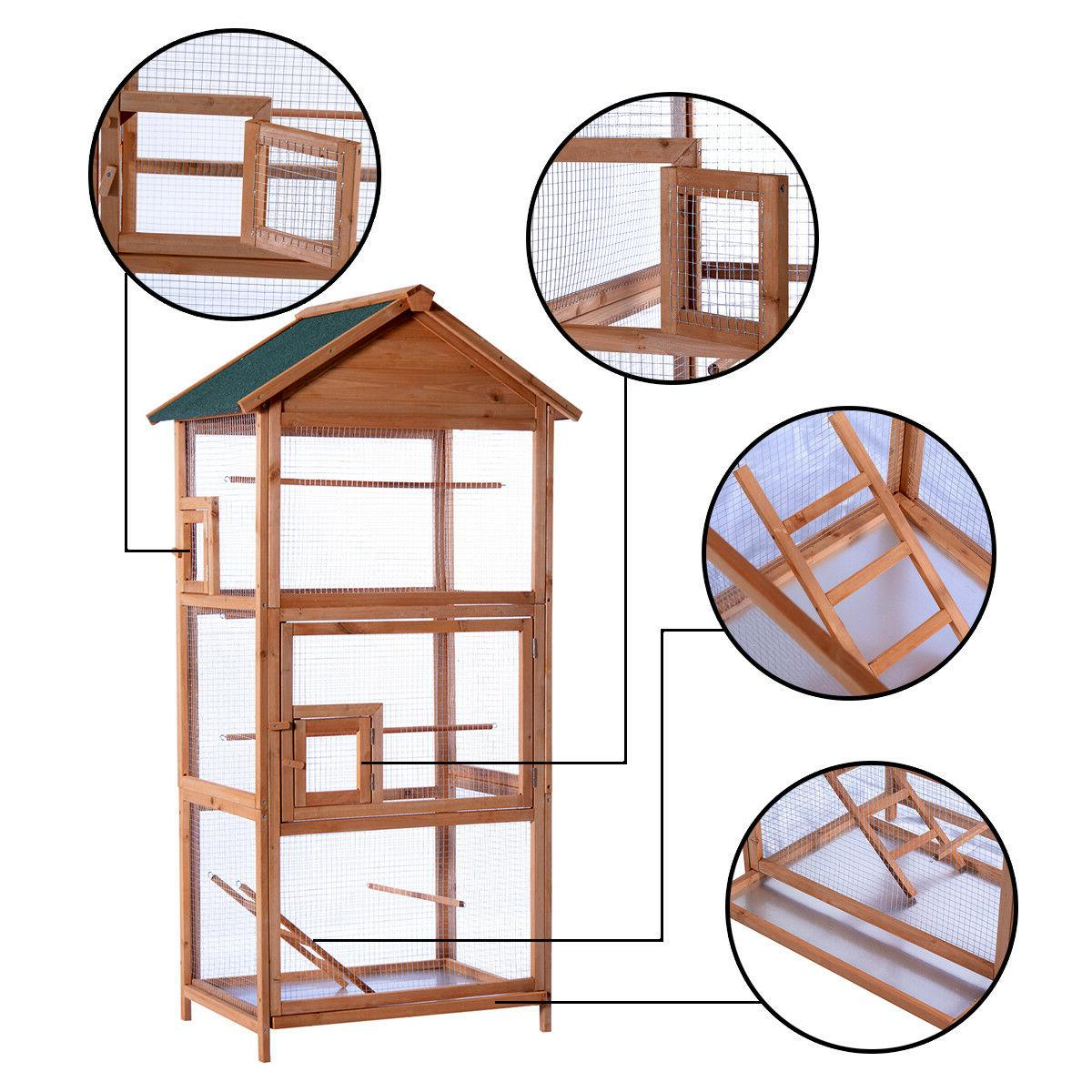 Wooden Cage Cockatiel Parakeet Canary Finch Play House Pet Supply