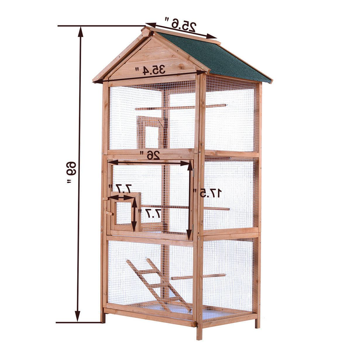 Wooden Bird Cage 70'' Cockatiel Parakeet Canary Play House Pet