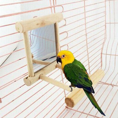 Wooden Bird Parrots Cockatiel Toy Mirror Stand Platform Perc