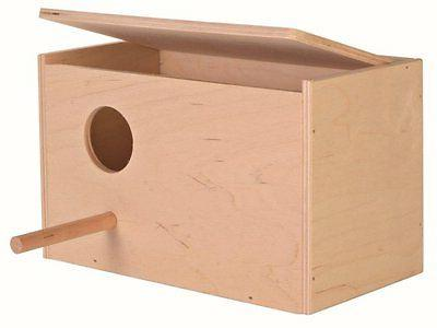 wooden budgie nest nesting box with perch