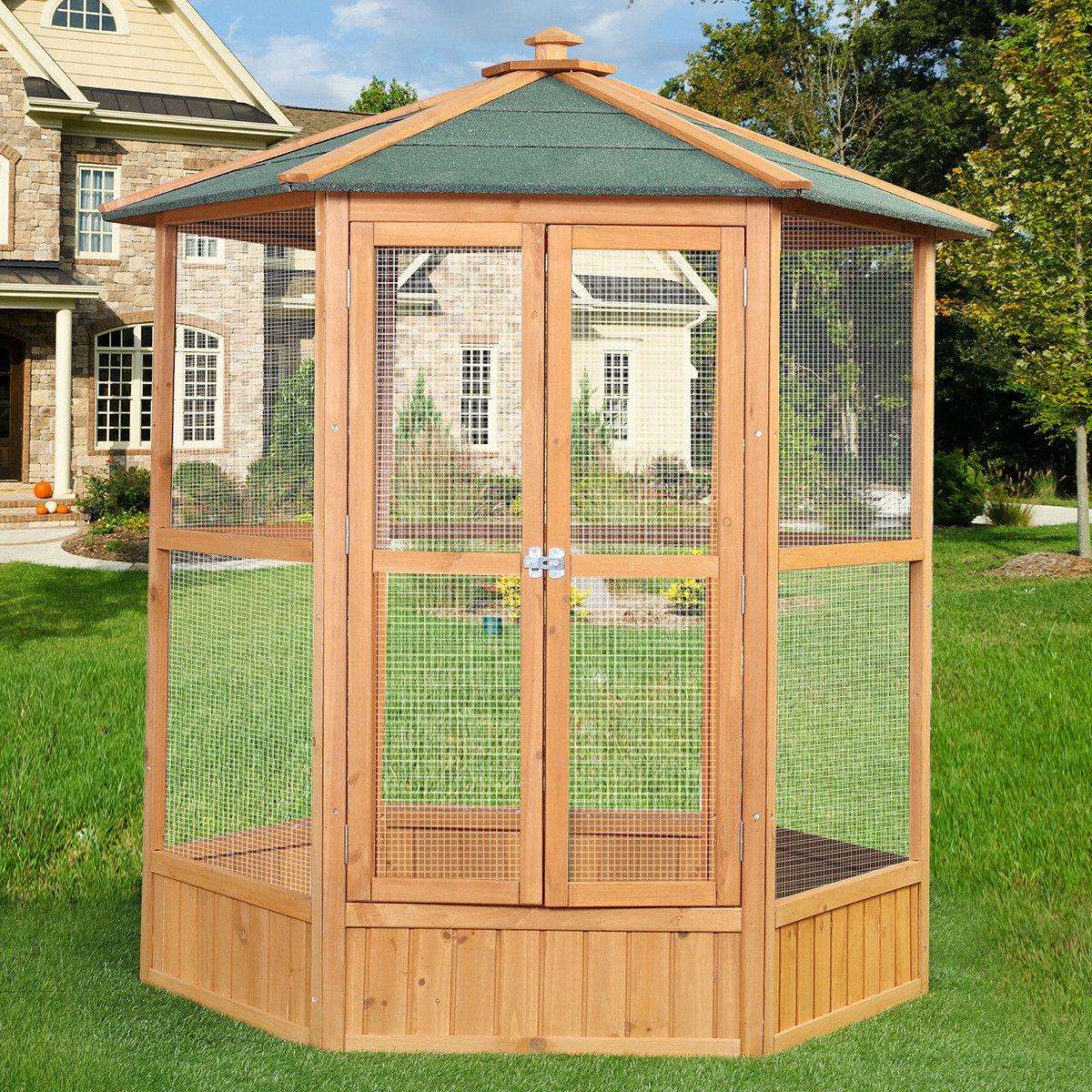 Wooden Large Pet Bird Cage Parrot Walk In Aviary Play Top Pe