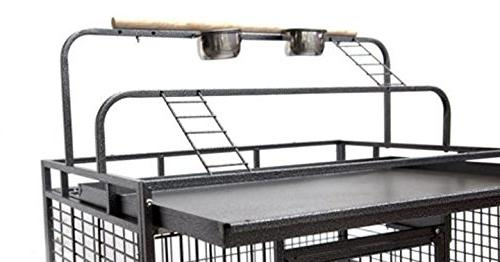 New Wrought Bird Parrot Cage Ladders Open/Close Play Top, Include Seed Play