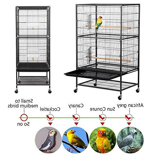 Yaheetech Standing Bird Cage for African Grey Quaker Amazon Parrots Cockatiels Sun Conures Pigeons Cage Stand