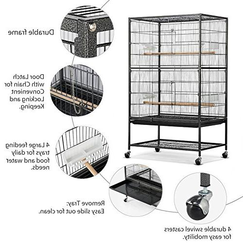 """Yaheetech 52"""" Wrought Standing Extra Large Cage for African Grey Quaker Cockatiels Sun Conures Pigeons Flight Bird Cage with Stand"""