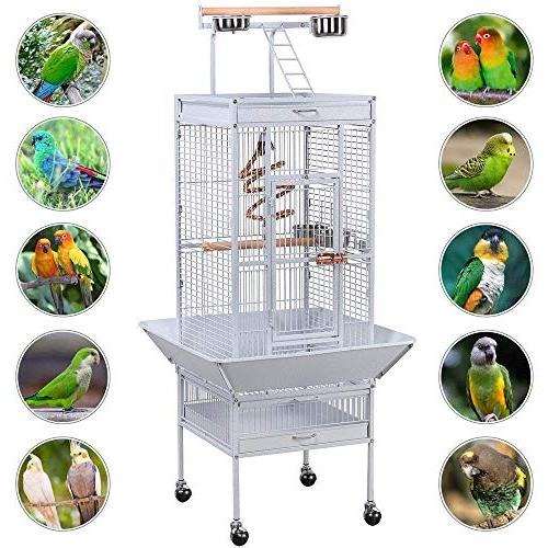 "Yaheetech 61"" Select Include Bungee African Grey Sun Budgies Play Bird with Stand, White"