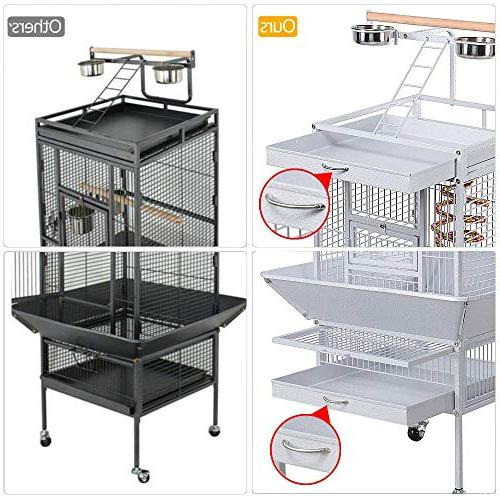 "Yaheetech 61"" Wrought Select Large Include African Grey Parrots Cockatiels Sun Parakeets Conure Budgies Bird Cage White"