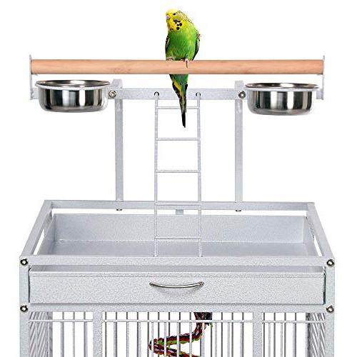 Yaheetech Select Bird Cages Include Bungee African Parrots Cockatiels Sun Parakeets Lovebirds Budgies Play Bird with White