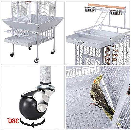 Yaheetech Wrought Select Large Cages Include Bungee African Cockatiels Sun Budgies Finches Top Bird White