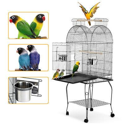 iKayaa Wrounght Iron Bird Parrot Cage Play Top Cage+Bowl & L