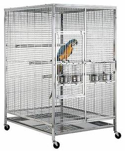 Large 304 Stainless Steel Parrot Macaw Bird Cage w/ Perch In
