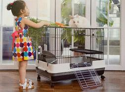 "Large 32"" Indoor 2-Level Guinea Pig Chinchilla Rabbit Cage H"