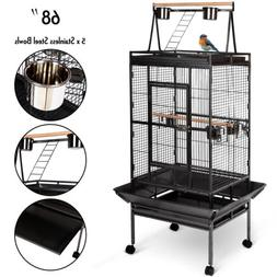 "Large Bird 68"" Parrot Cage Pet Supplies Iron Play Top Finch"