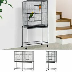 Large Bird Cage House Black Steel w/ Rolling Stand and Food