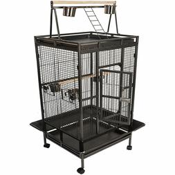 Large Bird Cage Top Parrot Finch Macaw Cockatoo Perch Wheels