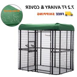 Large Bird Cage w/ Cover Outdoor Walk in Aviary Cage Waterpr