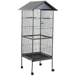 Large Bird Iron Cage Portable Wheels Roof Covered Protection