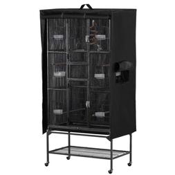 Yaheetech Large Black Bird Cage Cover w/Mesh Window/Storage
