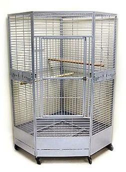 Large Corner Bird Cage Perfect for Large Parrots, African Gr