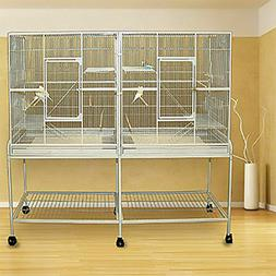 LARGE Double Flight Bird Cage For Cockatiel Canary Aviary Bu