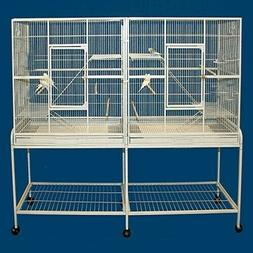 Mcage Large Double Flight Bird Wrought Iron Double Cage w/Sl
