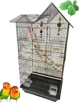 Large Double Roof Top Bird Flight Cage W/Toys Canary Aviary