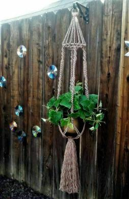 Large Macrame Plant Hanger~Heather Brown-Bird Cage Top~Twist