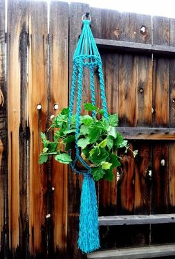 Large Macrame Plant Hanger~Rich Turquoise~Bird Cage Top~Soli