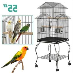 Yaheetech Large Metal Rolling Bird Cage Parrot Aviary Canary