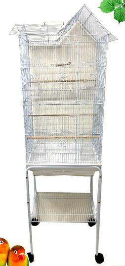 Large Roof Top Bird Cage Stand Canary Parakeet Budgie Cockat